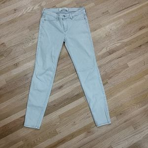 Abercrombie & Fitch light blue skinny jeans.